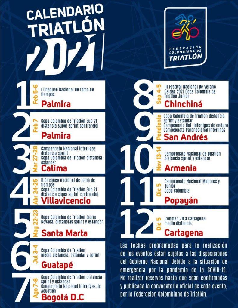 Calendario triatlón Colombia 2021